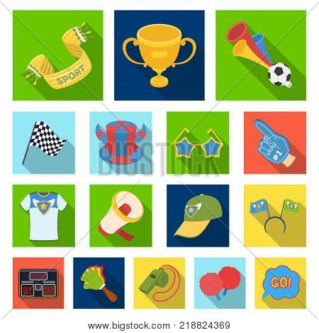 Fan and Attributes flat icons in set collection for design. Sports Fan vector symbol stock  illustration.