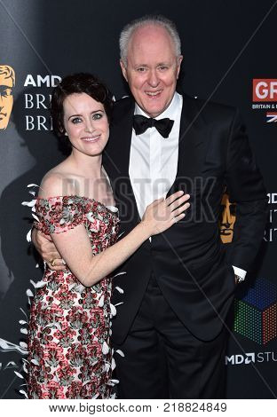 LOS ANGELES - OCT 27:  Claire Foy and John Lithgow arrives for the BAFTA Brittania Awards 2017 on October 27, 2017 in Beverly Hills, CA