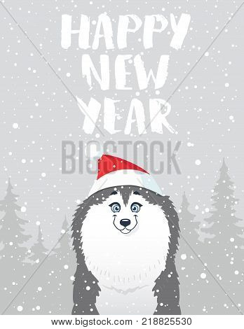 Cartoon cute and funny siberian husky in a hat with a pompon. Holidays stylish poster. Vector illustration. Christmas and new year greeting card