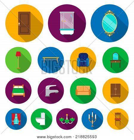 Furniture and interior flat icons in set collection for design.Home furniture vector symbol stock  illustration.