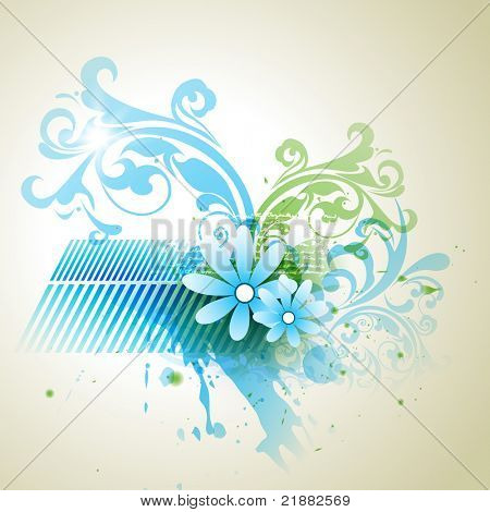 abstract grungy floral artwork. Eps10 vector poster