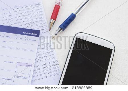 saving account passbook band and withdrawal slips of bank