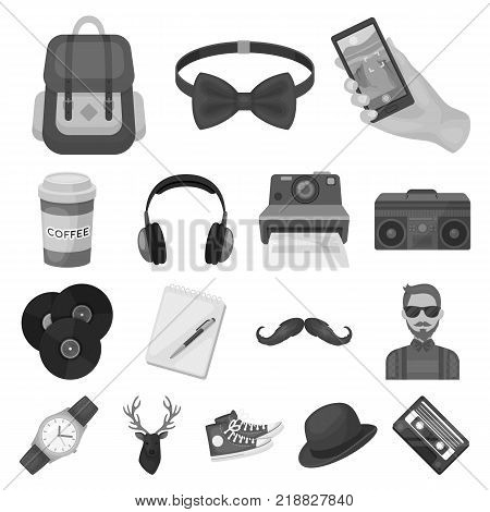 Style Hipster monochrome icons in set collection for design. Hipster Attributes and accessories vector symbol stock  illustration.
