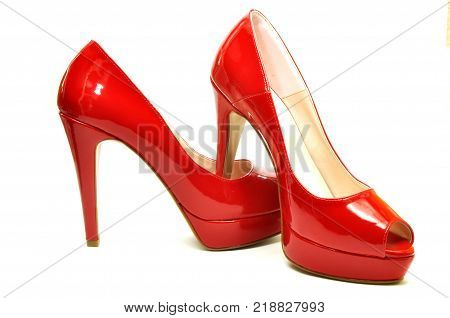 A pair of elegant red shoes for a modern woman 05