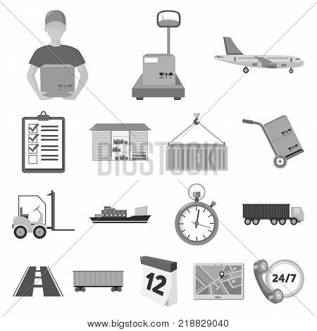 Logistics service monochrome icons in set collection for design. Logistics and equipment vector symbol stock  illustration.