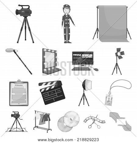 Making a movie monochrome icons in set collection for design. Attributes and Equipment vector symbol stock  illustration.