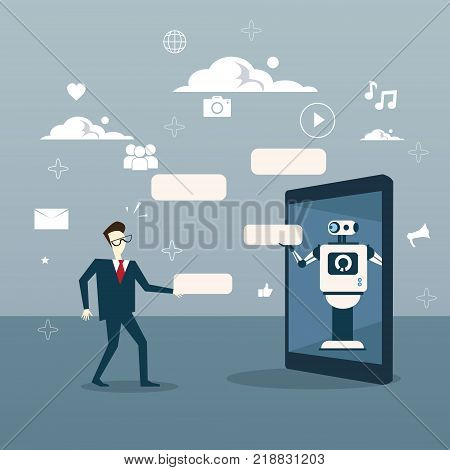 Chatbot Concept Man Communication With Chat Bot From Digital Tablet Vector Illustration