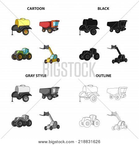A barrel with water, a trailer, a dumper, an agricultural tractor, a forklift. Different kinds of agricultural machinery set collection icons in cartoon black monochrome outline style vector symbol stock isometric illustration .