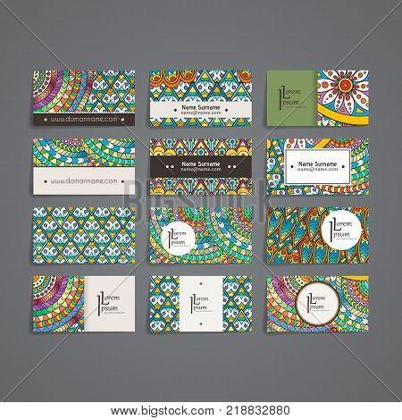 Set of vector design templates. Brochures in random colorful style. Frames and backgrounds. Zentangle designs.