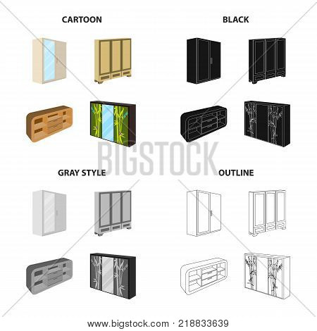 Furniture, cabinet, door, and other  icon in cartoon style.Cupboard, locker, table icons in set collection