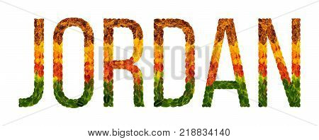 jordan. word is written with leaves white isolated background, banner for printing. Beautiful inscription poster of color leaves jordan