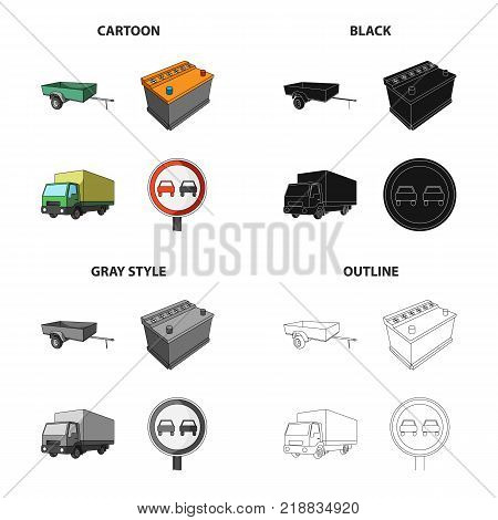 Car trailer, battery, big truck, road forbidden sign. Car and accessories set collection icons in cartoon black monochrome outline style vector symbol stock Isometric illustration .