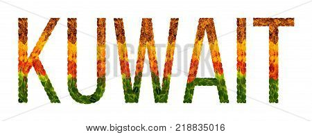 kuwait. word is written with leaves white isolated background, banner for printing. Beautiful inscription poster of color leaves kuwait