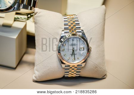 Milan Italy - September 24 2017: Rolex watches in a store in Milan. Fashion week Rolex shopping