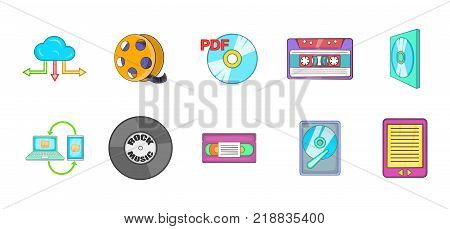Storage info icon set. Cartoon set of storage info vector icons for web design isolated on white background