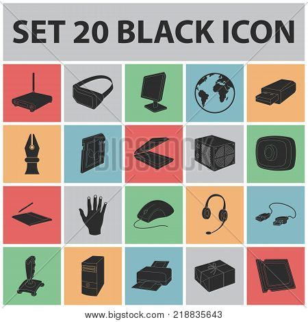 Personal computer black icons in set collection for design. Equipment and accessories vector symbol stock  illustration.