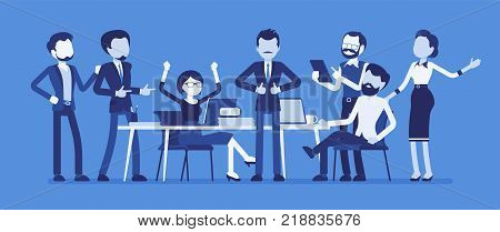 Successful team gathering. Group of young people, startup company celebrating completed task, job, or common project, entrepreneurial venture. Vector business concept illustration, faceless characters