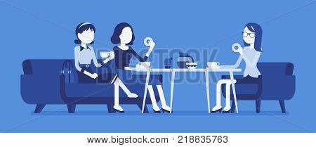 Girls sitting in a cafe. Female friendly informal meeting for refreshment and talk, having drinks in a small restaurant, chatting together. Vector business concept illustration, faceless characters