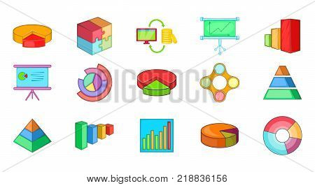 Diagram icon set. Cartoon set of diagram vector icons for web design isolated on white background