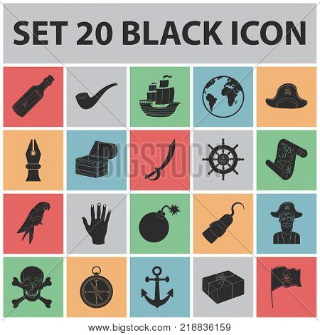 Pirate, sea robber black icons in set collection for design. Treasures, attributes vector symbol stock  illustration.
