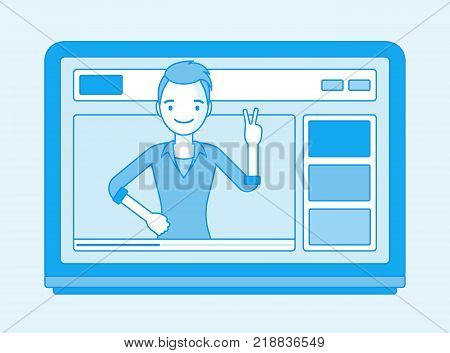 Videoblogger on a screen. Young man, vlogger posting personal weblog with video content, greeting blogosphere friends online. Vector line art illustration