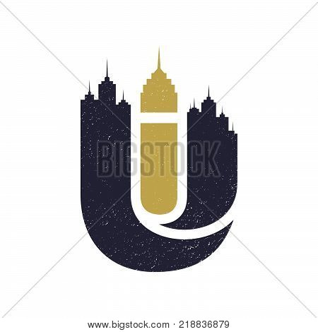 Letter U city building vector silhouettes, urban vector skylines. Urban architecture, skyline cityscape architecture illustration. Vector illustration EPS.8 EPS.10
