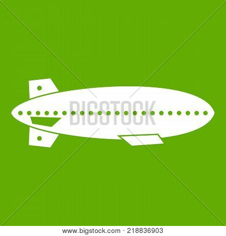 Dirigible balloon icon white isolated on green background. Vector illustration