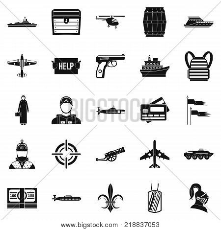 Combat vehicles icons set. Simple set of 25 combat vehicles vector icons for web isolated on white background