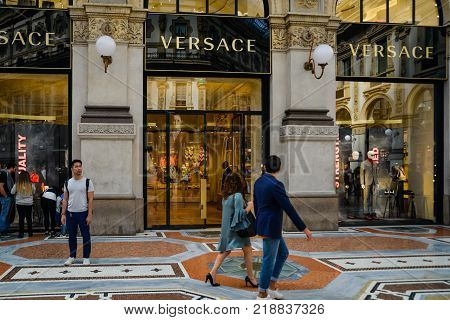 Milan, Italy - September 24, 2017:  Versace Store In Milan. Fashion Week Versace Shopping