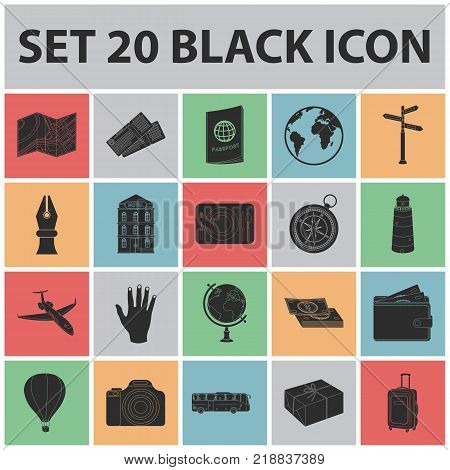 Rest and travel black icons in set collection for design. Transport, tourism vector symbol stock  illustration.