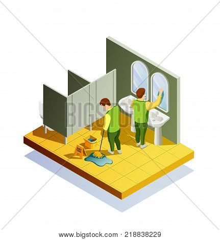 Cleaning isometric composition with public lavatory room interior and two male cleaners washing floor and mirrors vector illustration