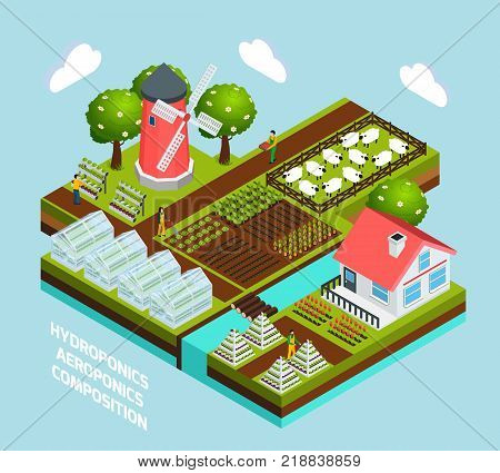 Hydroponics and aeroponics isometric concept with greenhouse and farming symbols  vector illustration