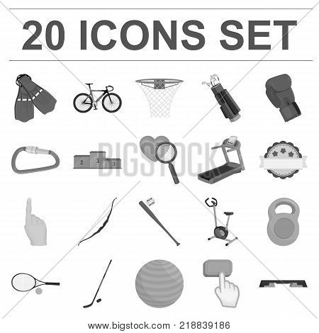 Different kinds of sports monochrome icons in set collection for design. Sport equipment vector symbol stock  illustration.