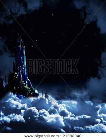 Ночь сказка. Фантастический пейзаж с замком