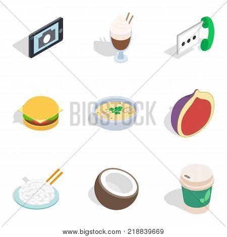 Hearty breakfast icons set. Isometric set of 9 hearty breakfast vector icons for web isolated on white background