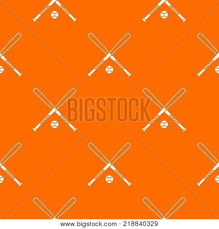 Crossed baseball bats and ball pattern repeat seamless in orange color for any design. Vector geometric illustration
