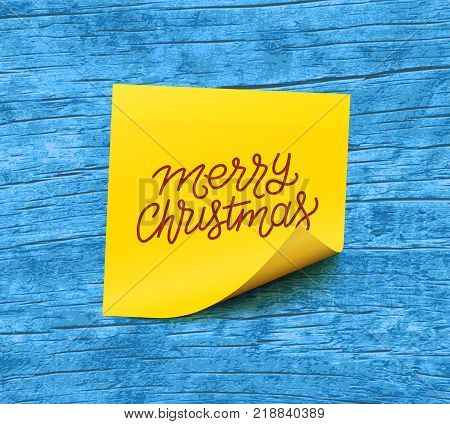 Merry Christmas text on yellow sticky note paper over blue wooden background. Vector illustration
