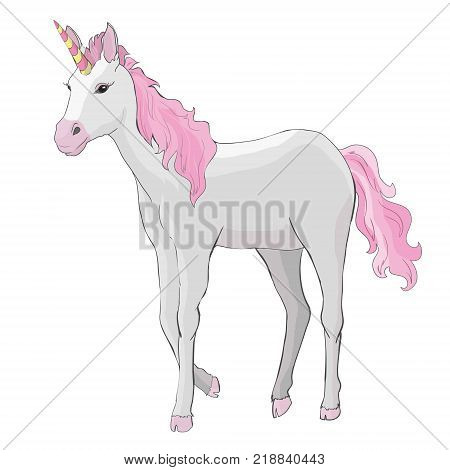 Unicorn vector icon isolated on white. Head portrait horse sticker, patch badge. Cute magic cartoon fantasy cute animal. Rainbow hair. Dream symbol. Design for children, horn, art, cartoon, animal, beautiful, child, color, fantasy, horned, isolated, lovel