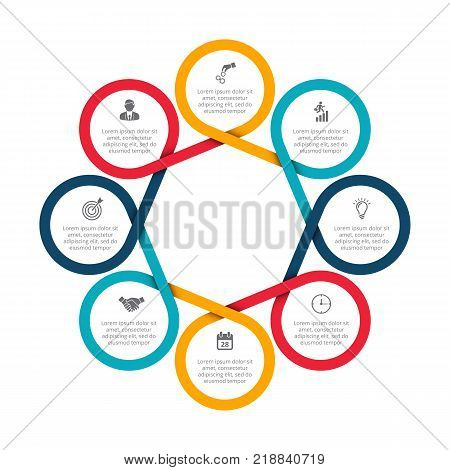 Business data visualization. Abstract felements of cycle diagram with 8 steps, options, parts or processes. Vector business template for presentation. Creative concept for infographic. Process chart.