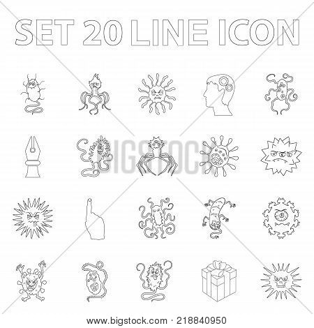 Types of funny microbes outline icons in set collection for design. Microbes pathogenic vector symbol stock  illustration.