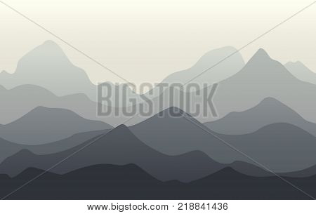 Mountains landscape. Seamless background of grey mountains ridges. Vector illustration of nature.