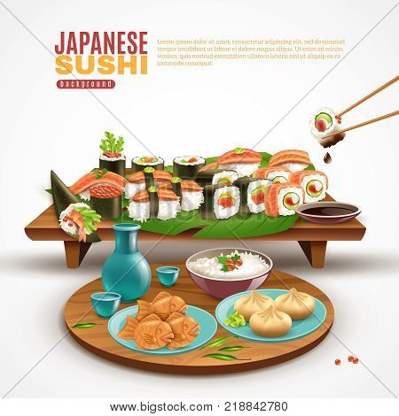 Realistic background with wooden stand full of sushi maki and plate with other japanese dishes vector illustration