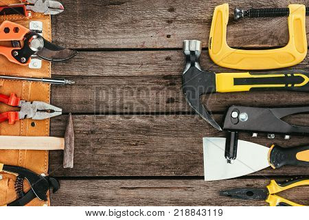 top view of woodcraft equipment on wooden tabletop