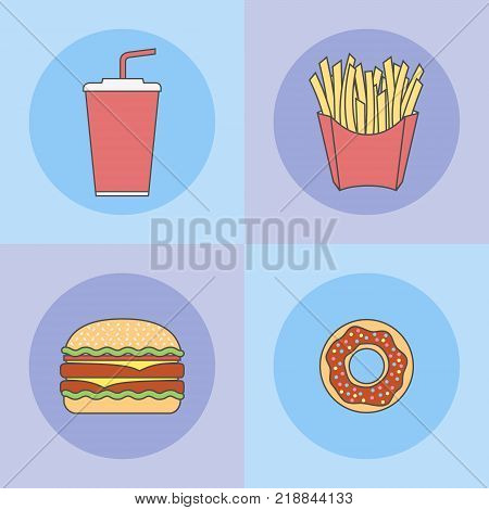 Set of fast food flat line icons. Donut, hamburger, french fries and soda takeaway. Modern vector illustration.