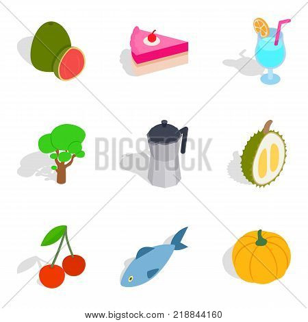 Cafe icons set. Isometric set of 9 cafe vector icons for web isolated on white background