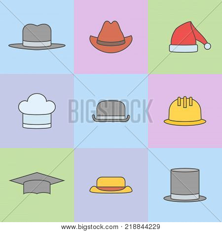 Set of hats flat line icons. Safety helmet, bowler, top hat, graduation cap, chef, gangster, tourist, cowboy and Santa Claus hats. Vector illustration.