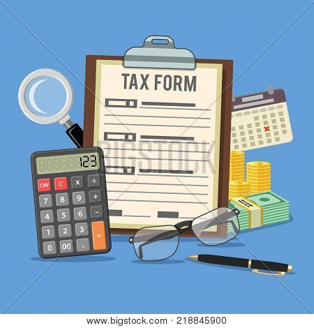 Tax calculation, accounting, payment, paperwork concept. Government taxes, financial research, report. Calculation of tax return. Flat style icons. Isolated vector illustration