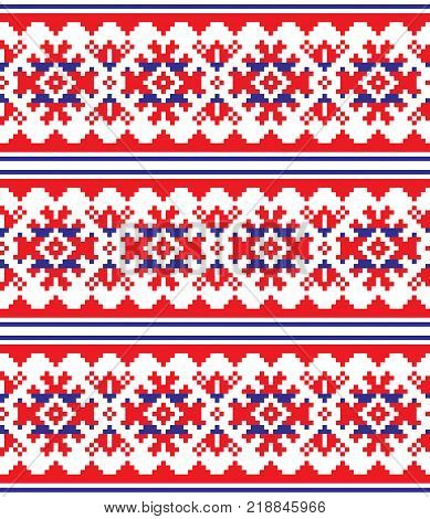 Scandinavian, Nordic vector seamless pattern, Lapland long red and blue folk art design, Sami people traditional embroidery