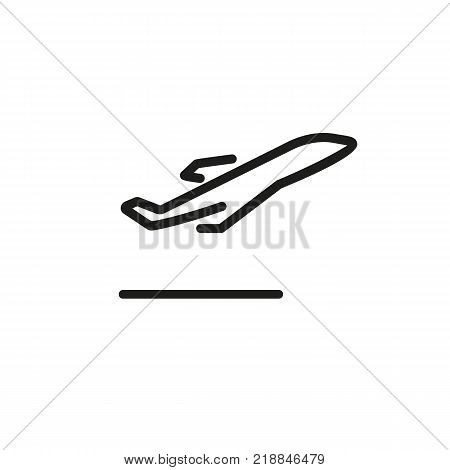 Line icon of airplane taking off. Departure, airfield, airport. Transport concept. Can be used for warning signs, information boards and web pictograms