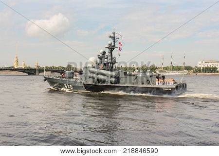 St. Petersburg, Russia - 28 July, Rocket boat on the parade, 28 July, 2017. Festive parade of warships on the Neva River in St. Petersburg.